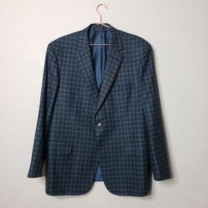 BRIONI Colosse Navy Blue Wool Plaid Blazer 46R